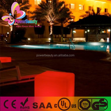 2015 new style plastic housing led rgb lighting outdoor furniture cube seat