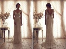 2014 Classic Sheer Crystal Beading Wedding Dresses V-neck Cap Sleeve A-Line V Backless Lace Anna Campbell Bridal Gowns