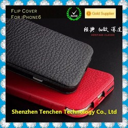 Hot New Products 2015 Cowhide Genuine Leather flip cover case for iphone 6