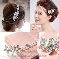 Wedding jewelry, high-end flash diamond pearl bridal headdress frontlet forehead between the eyebrows fall chain XN003