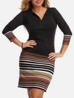 Others fashion women girl clothes Black V Neck Striped Plus Dress