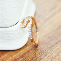 Korean style S shaped rose gold zinc alloy ring with custom jewelry gift boxes