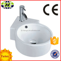 wall hung ceramic bathroom corner hand wash basin