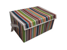 Fabric collapsible fabric storage bin with lid