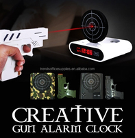 Laser Target Gun Shoot to Stop Game Alarm Clock LCD Screen Novelty Gift