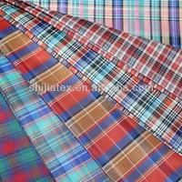 100%polyester yarn dyed multicheck 100g/m shirting fabric