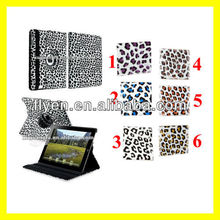 For The New iPad 4 3 2 Leopard Rotating Magnetic Leather Case Stylish Smart Cover Wholesale Cheap Lot Cases Covers 6 colors 1