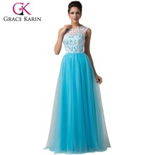2015 New Arrival Sexy Formal Long Prom Dresses Sleeveless Sky Blue Floor Length Lace Prom Dress CL6124