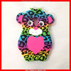 Colorful and cute tiger silicone phone case for Iphone 5 with 17MM real plastic eyes (MYD-1000)