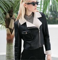 D15882A 2014 short PU thicken black woman jacket