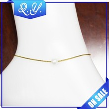 Latest Women Designs Genuine gold anklet with pearl for 2015