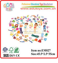 ECO friendly model wooden magnetic girl's dress set up toy