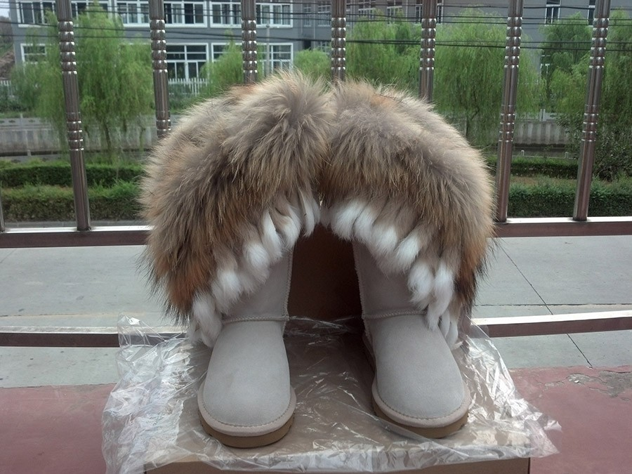 2013 Christmas New Fashion Snow Boots For Womens Nature Fox Fur