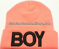 custom neon knitted beanies hat with 3D BOY embroidery