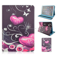 Red Heart Soft Blue TPU+PU Leather Tablet Cover Case For iPad air 2 With Elastic Belt That Can Flip Stand