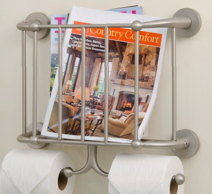 Wall Mounted Bathroom Metal Magazine Rack With Double Toilet Roll Holders Magazine Holder Buy