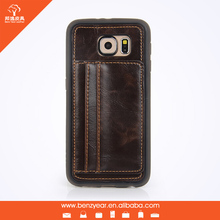 PU leather card holder mobile phone case for Samsung S6