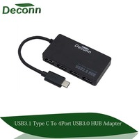 Classic Black Color X4 HUB High Speed USB3.1 Type c to 3.0 USB for Macbook 12inch HUB