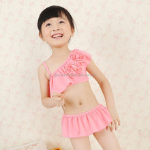 2015 Whosale Korean Style Baby Girl Bikini Kids Full Dress Pattern Two Piece Swimwear