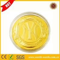Wholesale Alibaba New York Yankees NY 24k Gold Plated Challenge Coin, Zinc Alloy Coins With Acrylic box