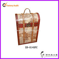 Customized Wooden Leather Wine Bottle Carrier