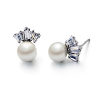 hot New products elegant freshwater pearl and diamond stud earrings in 925 sterling silver needle for wedding