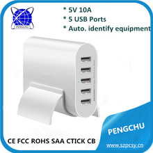 5 port usb portable charger 5V 10A for camera/mobile phone/tablet