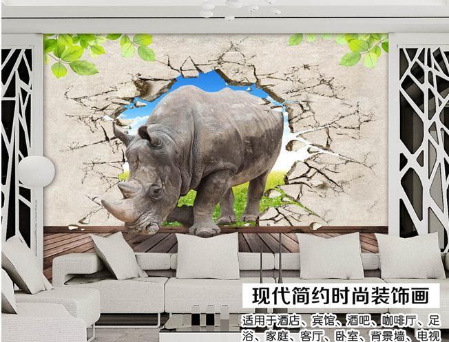 Papel de Пареде 3d стерео rhino седативные ТВ фон декоративная роспись 3d обои 185hg