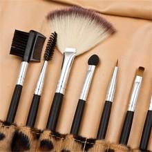 NEW 12pcs Make Up Brush Set Kit Foundation Eyeshadow Mascara Lip Brush Brand Make Up Brushes+leopard print Leather Bag