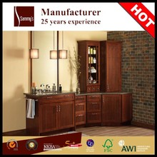 SKBV0030 China factory made luxury bathroom design bathroom furniture with solid wood bathroom cabinet marble double vanity