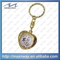 souvenir customized 3D heart shape metal golden key chain