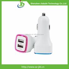 Fashion led light 12v car charger intelligent 5v usb 2.1a car charger for tablet