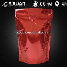Zip lock foil coffee bag with degassing valve for coffee tea bag