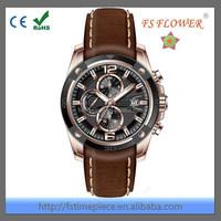 FS FLOWER - Mature Mens Charming Classic Chrono Watch With Genuine Leather Band Jam Tangan, Reloj, Montre, Uhren, Orologio