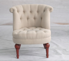Beige fabric chair with brown legs ZLY-0125