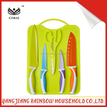 New design 5Pcs Kitchen Knife With Chopping block