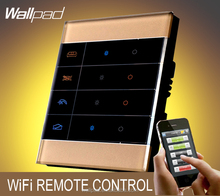 2015 Hot Wallpad Gold Glass Zigbee Led Lighting 4 Gangs Mobile WIFI Wireless Android IOS Wifi Remote control Light Switches
