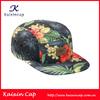 digital printing 5 panel hat floral design caps leather patch camp hat caps