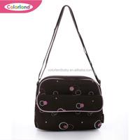 Pink polka dot pattern Embroidered Flowers Medium Baby Bag