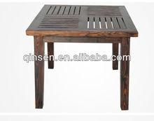 2014 última mad tradicional mesa al aire libre muebles de jardín carbonizado mesa cuadrada de madera maciza