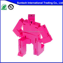 small magic wooden cube toys robot