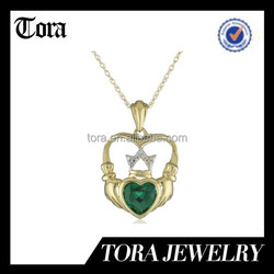 14k Yellow Gold Created Emerald and Diamond-Accent Claddagh Pendant Necklace
