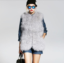 2015 new fashion women's 100% real tibet sheep fur vest
