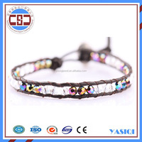 2015 Fashionable handmade crystal bead wrap around leather single wrap bracelet wholesale