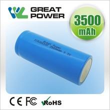 china factory highest capacity 3500mah 3.2v lithium lifepo4 26650 battery for car