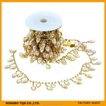 Wholesale Pearl and Rhinestone Chain Trimming Rhinestone Glass Crystal Cup Chain for Cloth