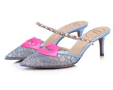 Sandálias senhora verão boca rendas chinelos padrão sapatos de senhora