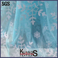cheap Frozen Elsa snowflakes printed organza fabric