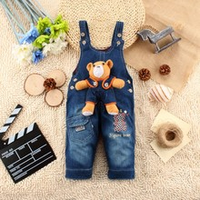 2015 new fashion jeans pants, denim fabric overalls for girls
