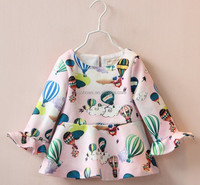 girl tops dresses, balloon printed girl dress, girl dress for fall season